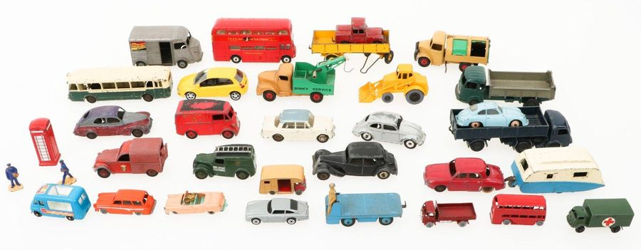 (30) Piece lot miniature cars. A.W. Dinky toys , JRD, Lesney and Matchbox. In us…