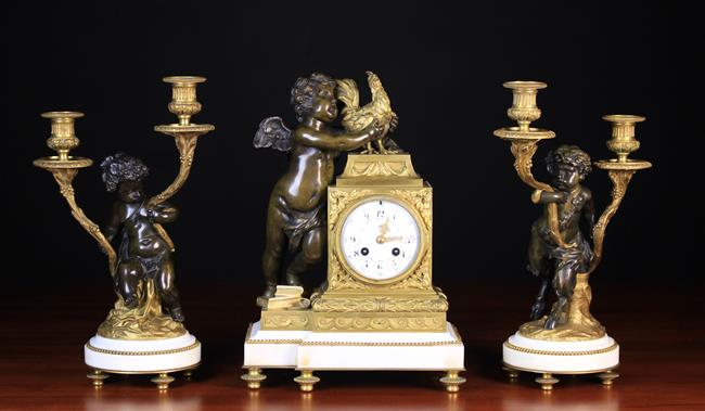 A Late 19th Century French Ormolu & Bronze Clock Garniture Set in the Louis XVI …