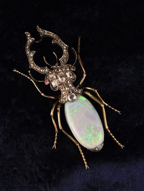 A Fabulous 14 Carat Gold Stag Beetle Brooch by J. V. Aarne set with diamonds, sm…