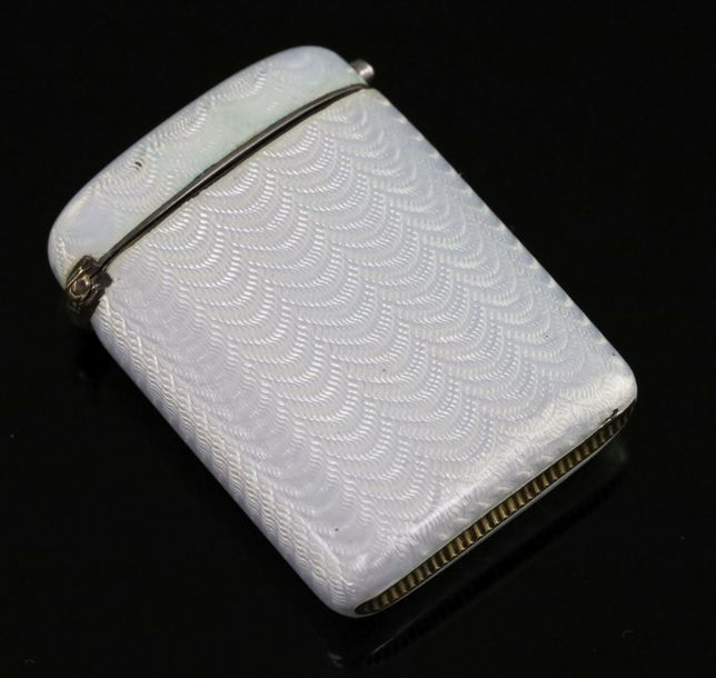 An early 20th century Faberge 88 zolotnik silver and guilloche enamel vesta case…
