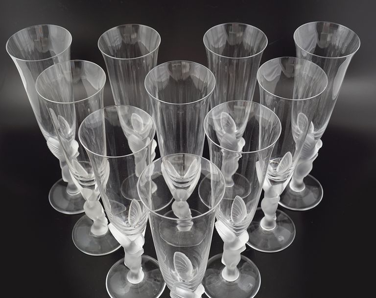 SET OF 10 FABERGE GLASS CHAMPAGNE GLASSES
