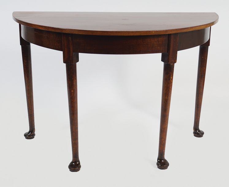 PAIR GEORGE III PERIOD MAHOGANY SIDE TABLES each with a demi lune shaped top abo…
