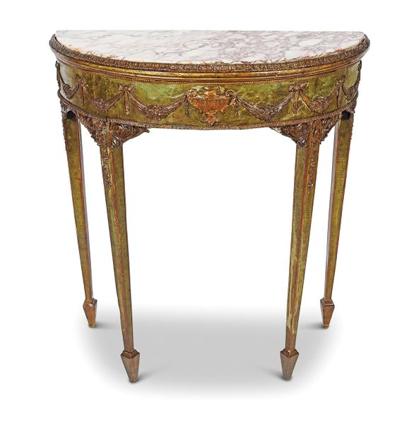 ADAM PAINTED AND PARCEL GILT PIER TABLE 18th century, the richly veined demi lun…
