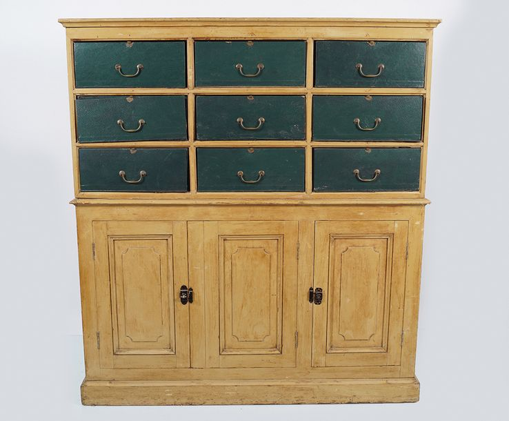 EDWARDIAN PAINTED LIBRARY CABINET of six leather front drawers, over three panel…