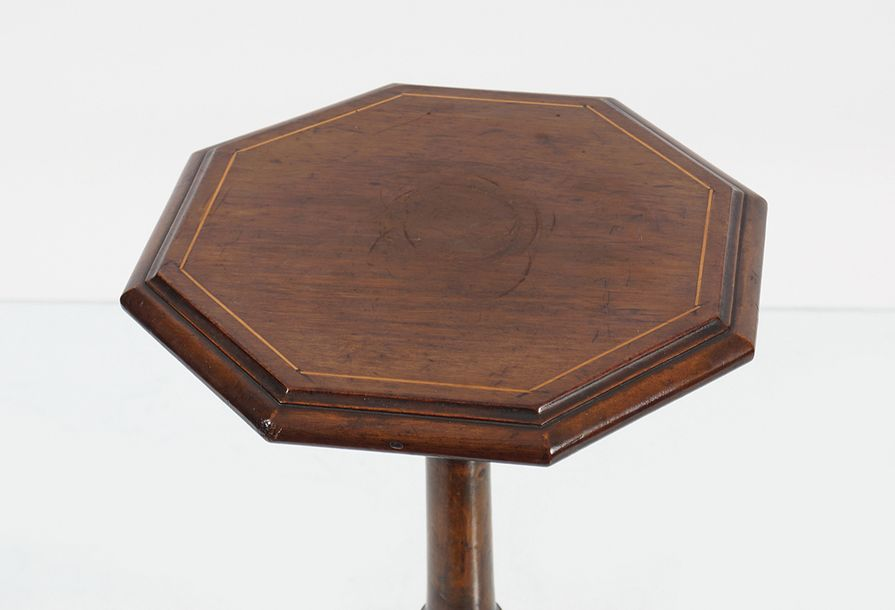 EDWARDIAN MAHOGANY AND INLAID WINE TABLE the octagonal inlaid top, raised on a t…