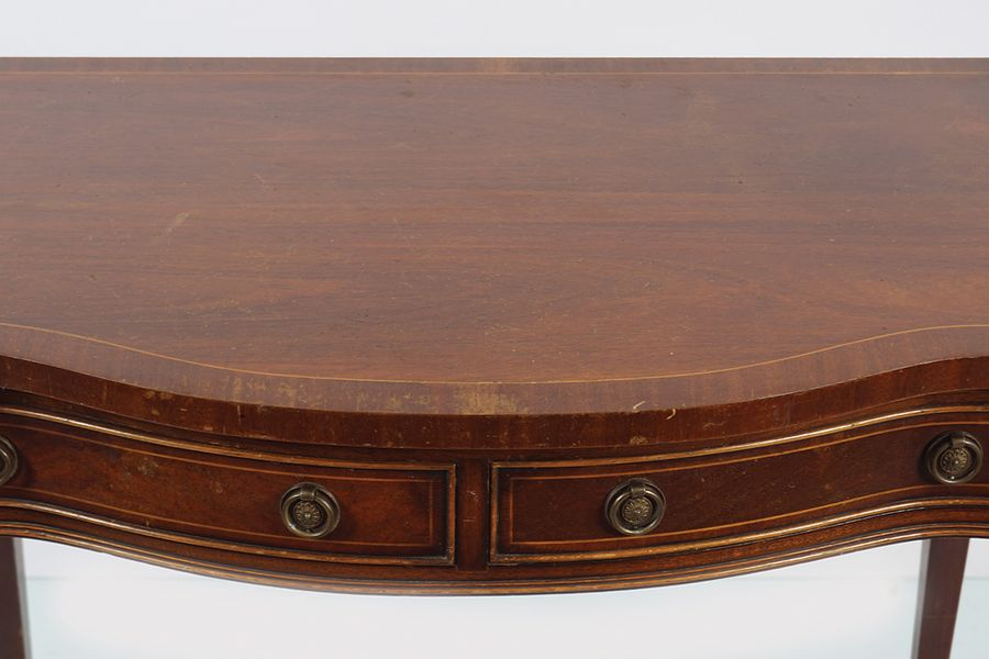 SHERATON STYLE MAHOGANY AND INLAID SIDE TABLE the rectangular shaped top with a …