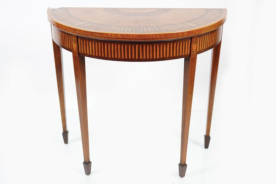 EDWARDIAN MAHOGANY & SATINWOOD INLAID CARD TABLE the demi lune shaped top above …