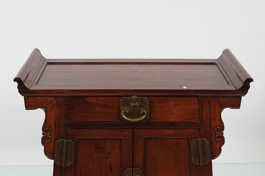 19TH CENTURY CHINESE HARDWOOD CEREMONIAL CABINET the rectangular shaped top with…