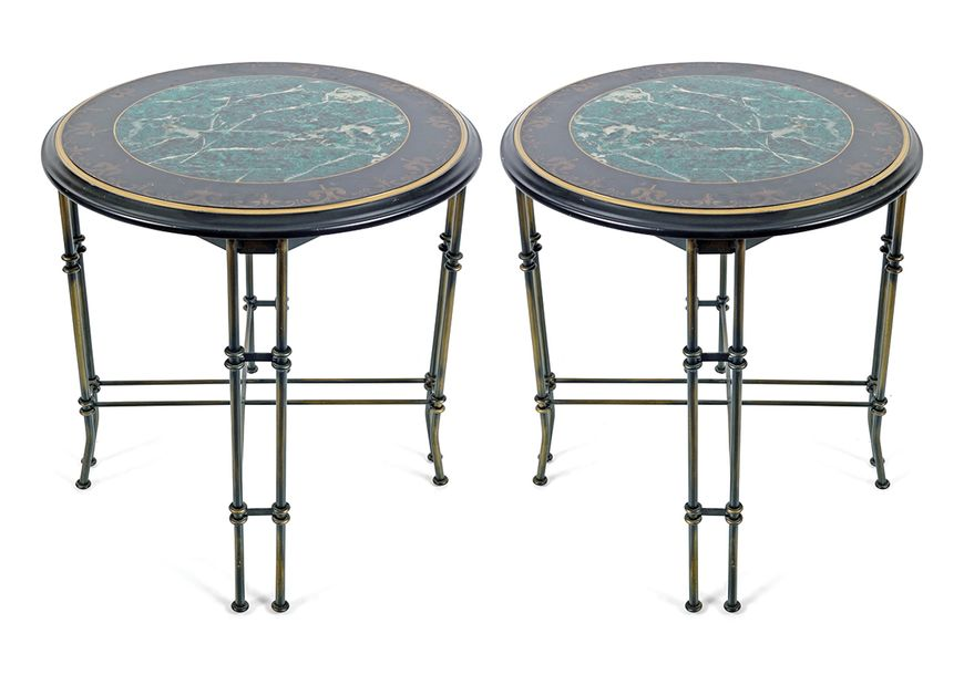 PAIR OF FAUX MARBLE AND BRASS TABLES each with a circular fleur de lys banded to…