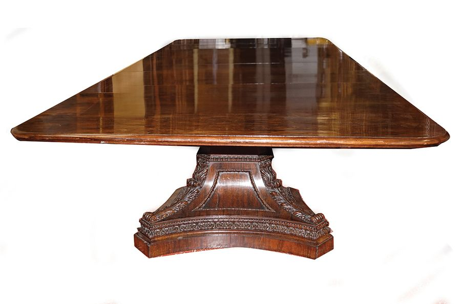 IMPORTANT WILLIAM IV PEDESTAL DINING TABLE the rectangular moulded edge top with…