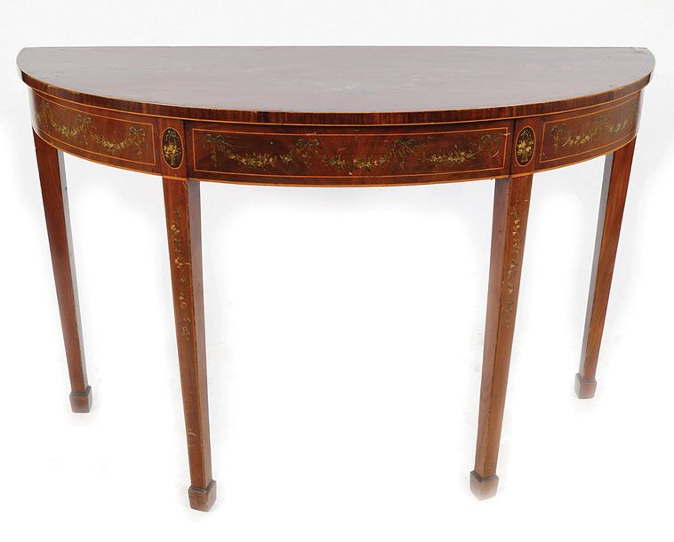 19TH CENTURY MAHOGANY PIER TABLE, CIRCA 1820 the demi lune crossbanded and paint…