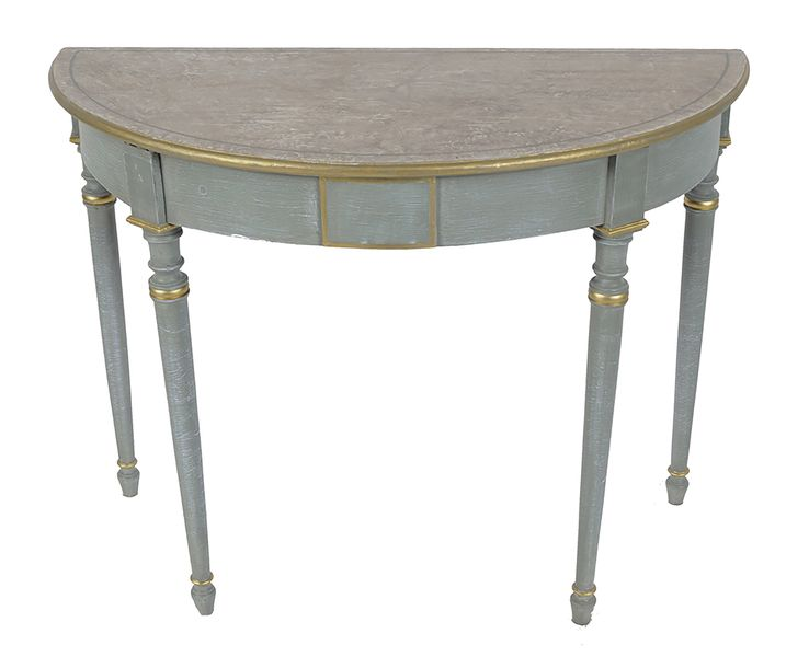 PAIR OF 19TH CENTURY PAINTED AND GILT SIDE TABLES circa 1810, each with a semi e…