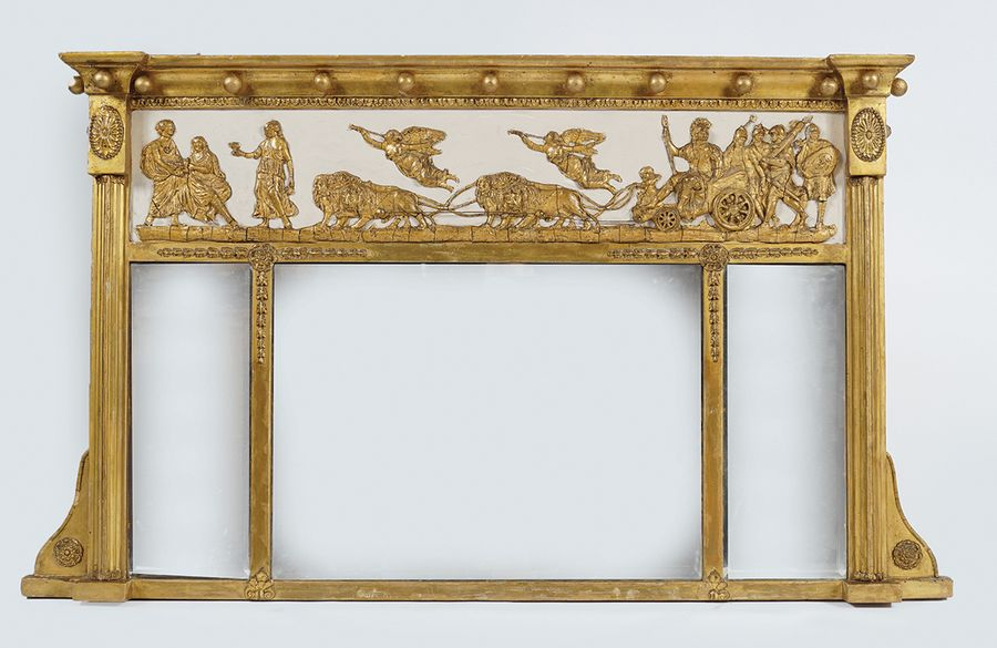REGENCY GILT FRAMED OVER MANTLE MIRROR of three rectangular plates, between clas…