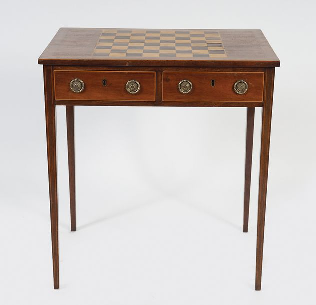 GEORGE III MAHOGANY AND CHEQUERED INLAID GAMES TABLE the rectangular top with a …