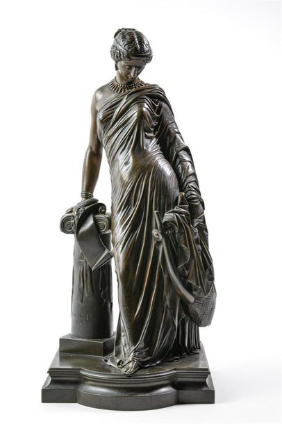 James PRADIER (1790-1852), Sapho à la colonne, 1848, bronze à patine brune. Signé…