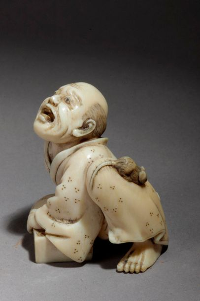 A 19th century Japanese netsuke from Meiji period. Signed Shungetsu. In carved i…