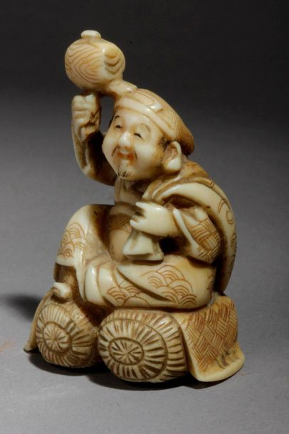 A late 19th century Japanese netsuke from Meiji period. Not signed. In carved iv…