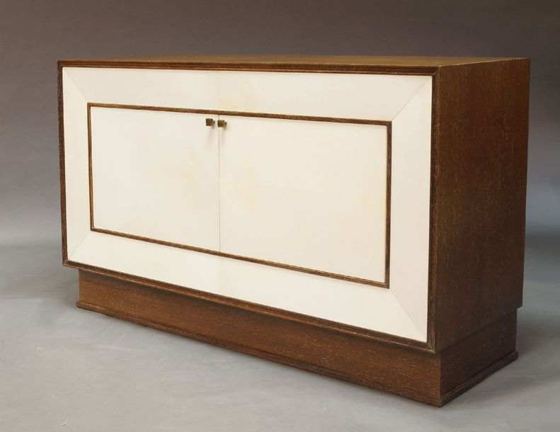 Archer & Smith Ltd, a pair of bespoke made vellum and laminated wood side cabine…