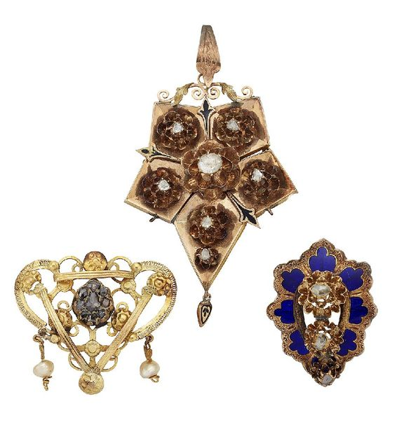 Two late 19th century gold and rose cut diamond brooches and a 19th century gold…