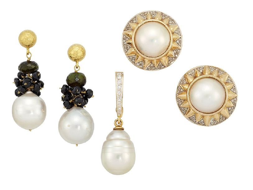 A diamond and cultured pearl pendant, the baroque cultured pearl drop with gradu…