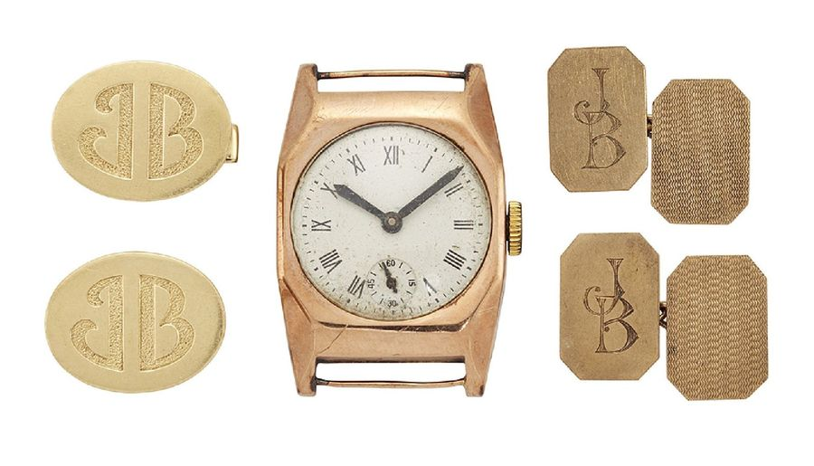 Two pairs of cufflinks and a 9ct gold wristwatch, one pair of cufflinks of 9ct g…