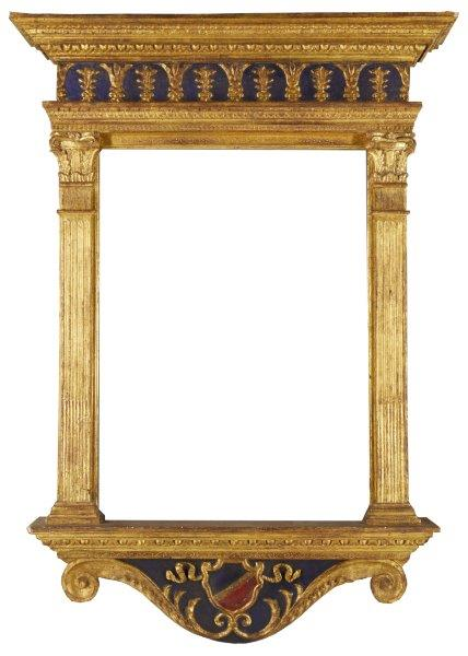 An Italian Carved, Gilded and Polychrome Painted Tabernacle Frame, 18th century,…