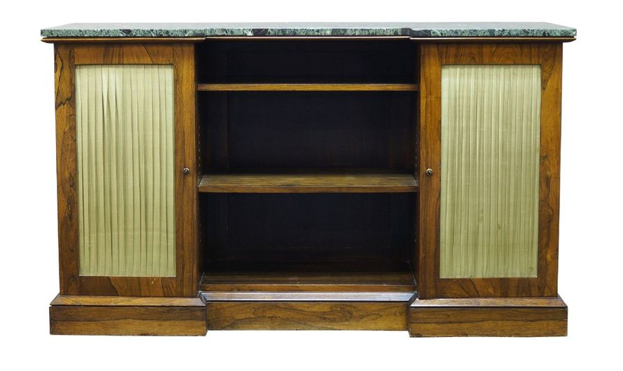 A Regency rosewood inverted breakfront side cabinet, the later green marble top …