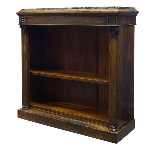 A Regency rosewood open bookcase, the top surmount with later green marble top, …