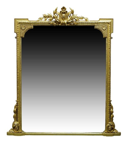 A Victorian gilt and gesso overmantle mirror, with central cabochon cresting, fl…