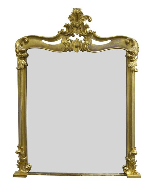 A large Victorian carved giltwood overmantle mirror, of rectangular form with pi…