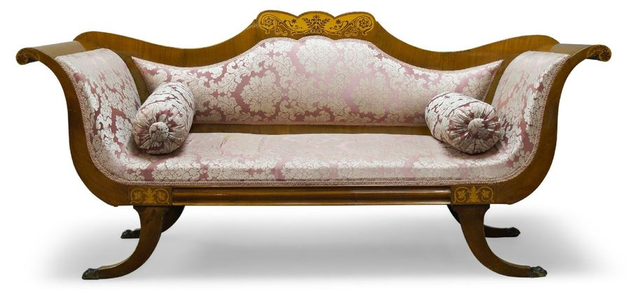 A Continental walnut and marquetry inlaid sofa, 19th Century, with shaped back, …