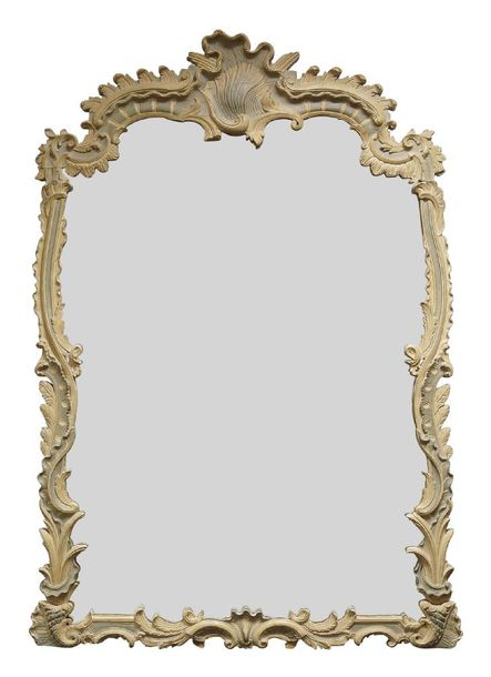 A large Rococo taste grey and green painted overmantle mirror, late 19th/ early …