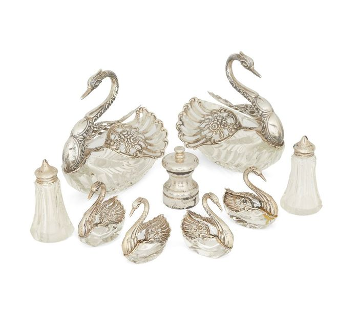 Six German silver mounted cut glass swan salts and bonbon dishes, two larger, fo…