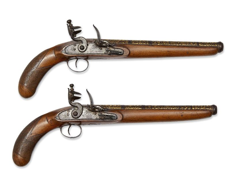 A pair of Qajar damascened pistols, Iran and Europe, 18th century, the fruitwood…