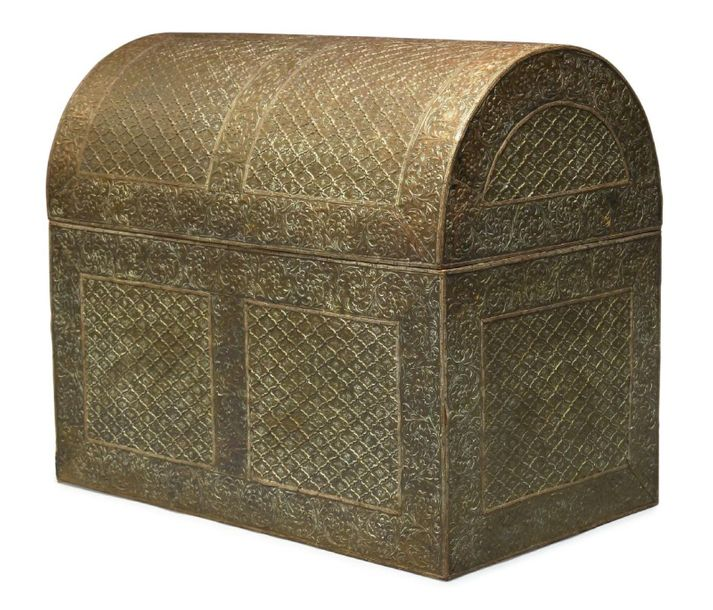 A monumental Mughal chest with domed top (possibly a campaign chest), India, 18t…