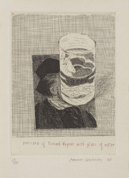 David Hockney OM CH RA, British b.1937;  Postcard of Richard Wagner with a Glass…