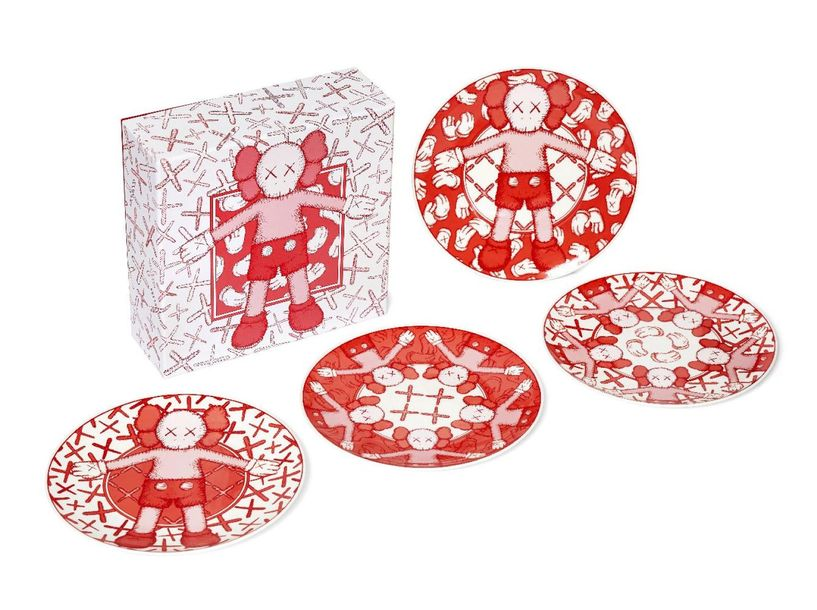 KAWS, American b.1974   Plate Set, 2019;  set of four ceramic plates in red, eac…