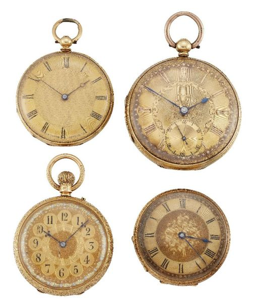 Four 19th century gold open face fob watches, the comprising: an 18ct gold open …