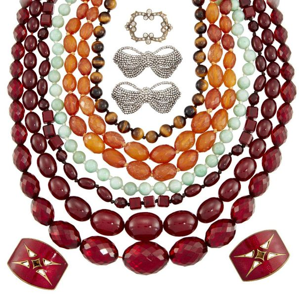 A group of jewellery comprising: a jadeite jade bead necklace designed as a sing…