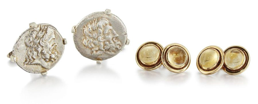 Two pairs of cufflinks, comprising: a pair of circular cabochon citrine cufflink…