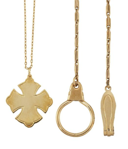 A pendant necklace and a fancy link chain, the first with quatrefoil cross penda…