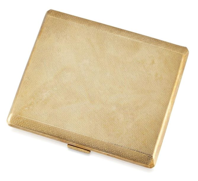 A 9ct gold cigarette case, of engine turned rectangular form, the interior with …