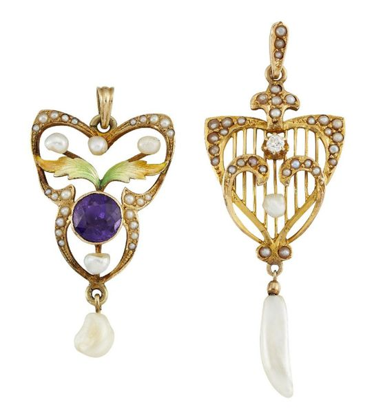 Two Art Nouveau gold, pearl and gem pendants, the first with freshwater pearl dr…