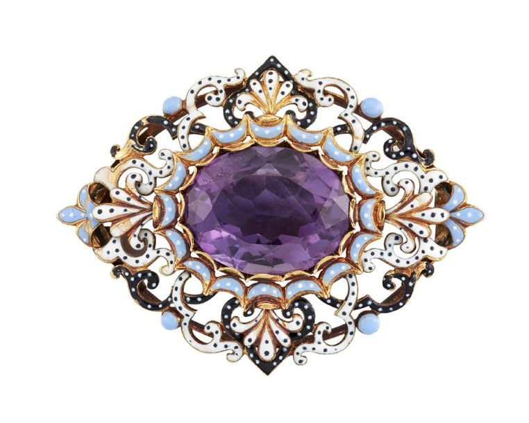 A 19th century gold and enamel amethyst brooch in the style of Robert Phillips, …