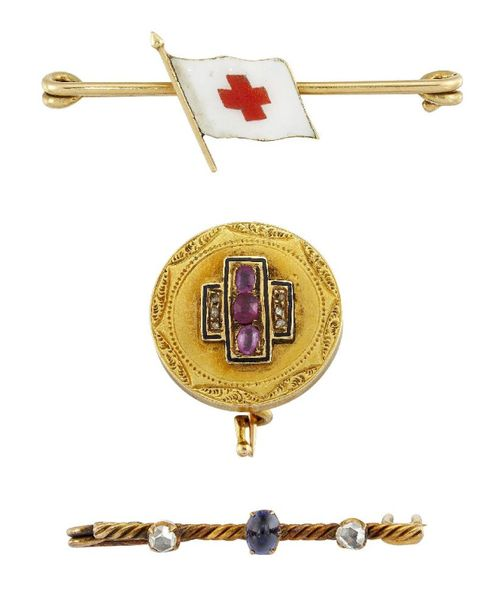 Two early 20th century gem set and one enamel brooch, including a Russian enamel…