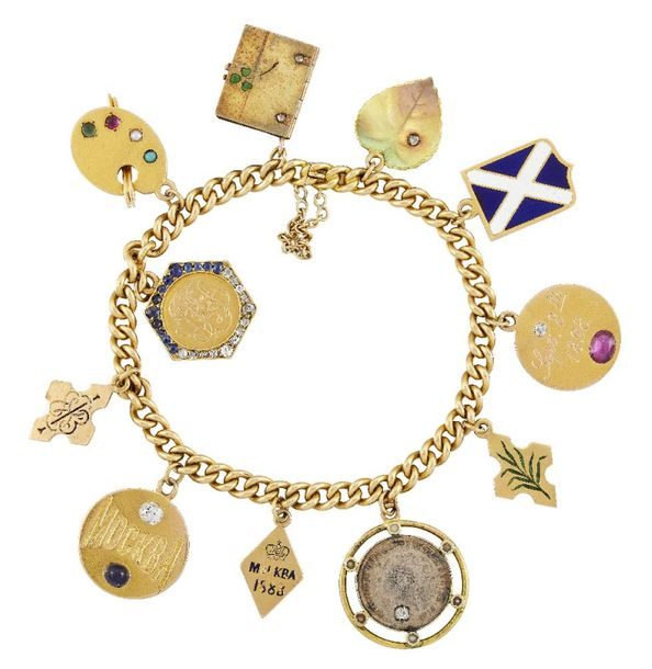 A gold curb link charm bracelet suspending various Imperial Russian and English …