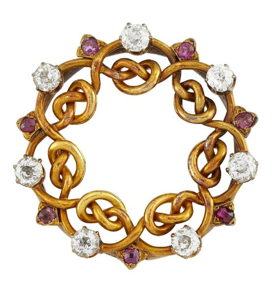A late 19th century Russian gold, diamond and ruby brooch, of entwined garland d…