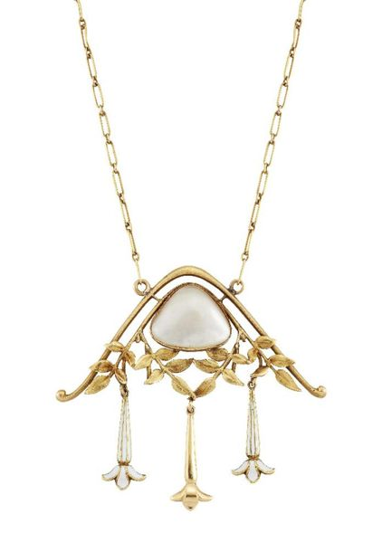 An Art Nouveau pearl and white enamel pendant necklace, by Fernand Grange, desig…