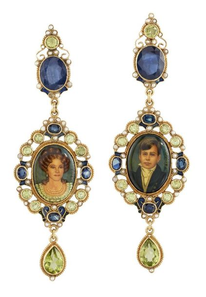 A pair of sapphire and peridot portrait drop earrings, by Percossi Papi, the min…