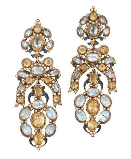A pair of blue topaz, citrine and seed pearl vermeil drop earrings, probably by …